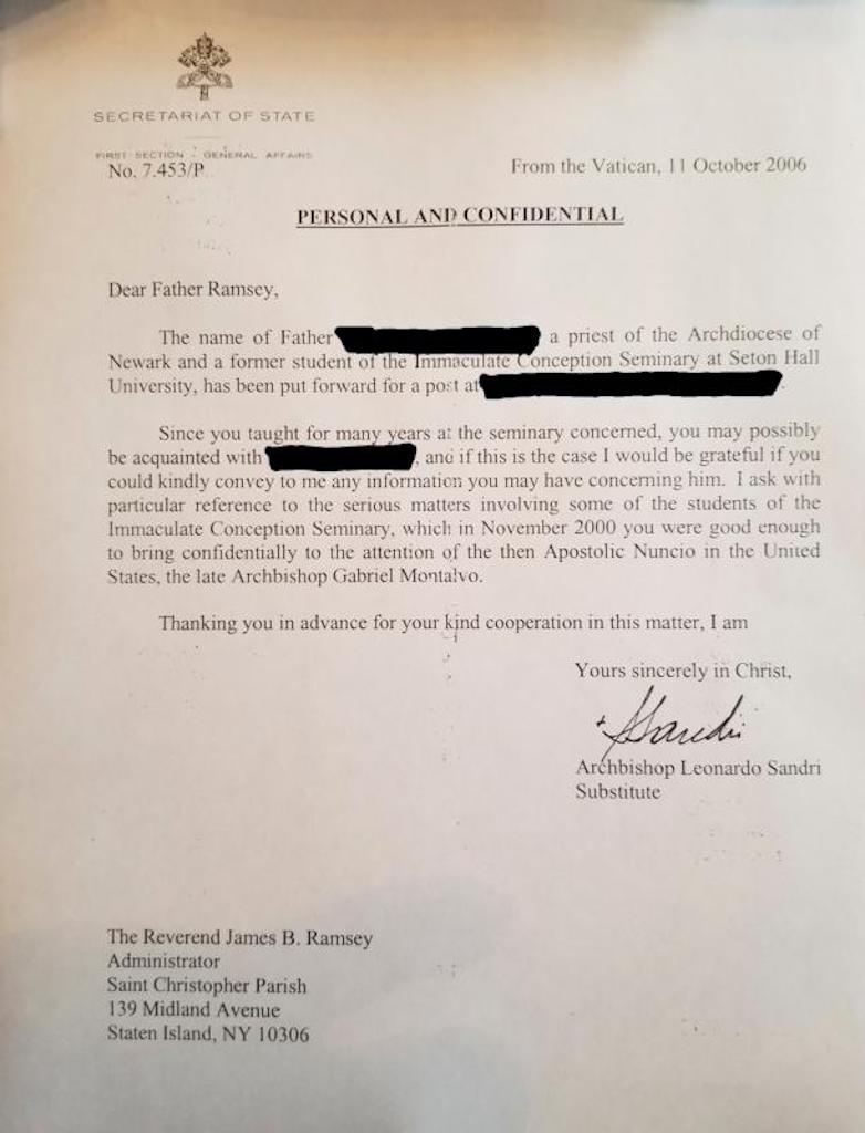 LETTER VATICAN FATHER RAMSEY